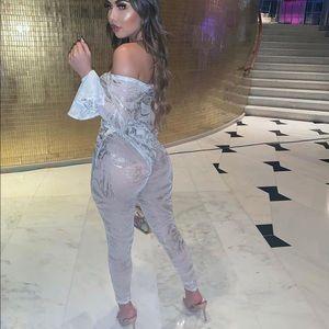 Fashion Nova Pants - NEW | White & Silver Mesh Leggings Set